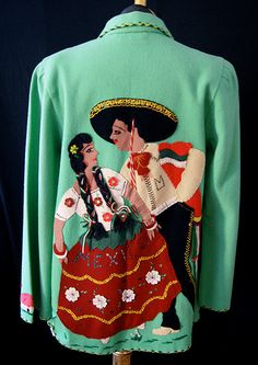 """1950's """"House of Oppenheim"""" mint green Mexican Tourist jacket"""