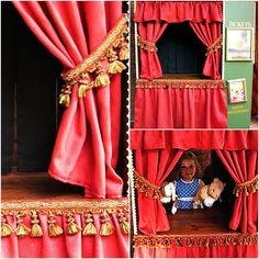 The Domestic Curator: REINVENT, REPURPOSE & RECYCLE: Entertainment Centers WHAT TO DO WITH THAT OLD UGLY ENTERTAINMENT CENTER CLUTTERING UP YOUR GARAGE! A Puppet Theater.
