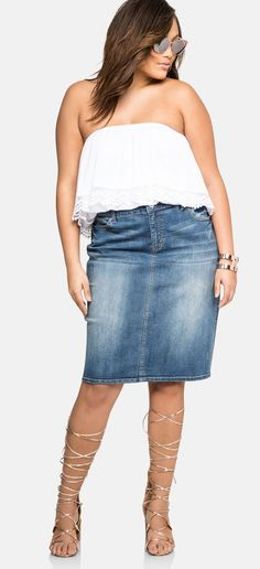 Plus Size Jean Skirt