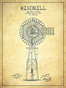 Windmill Patent Drawing From 1889 - Vintage Print by Aged Pixel
