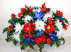 XL Red White and Blue Cemetery Tombstone Saddle Arrangement by Crazyboutdeco on Etsy
