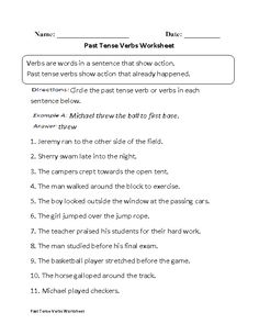 Past Tense Verbs Worksheet Part 1 Beginner