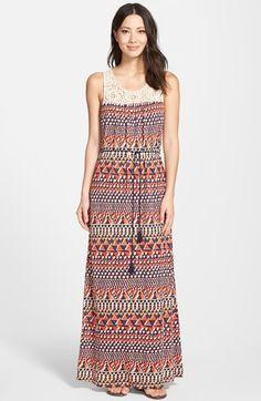 Lucky Brand Crochet Yoke Maxi Dress available at #Nordstrom