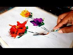 Abstract painting / Abstract flowers / Very Easy for Begginers /Acrylics & Palette Knife / Demo - YouTube