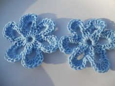 Crochet flowers applique in light blue  Six by needlepointnmore, $2.20