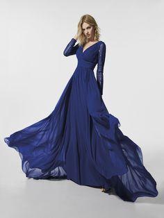 Μπλε φόρεμα δεξίωσης - Μακρύ φόρεμα GRANEA - μακριά μανίκια | Pronovias