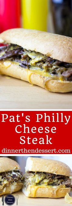 Pat's Philly Cheese Steak The undisputed king of cheese steak subs, the magic is in the technique of Pat's famous Cheese Steaks. Philly Cheese Steak Sandwich, Steak Sandwich Recipes, Sandwich Menu, Copycat Recipes, Beef Recipes, Cooking Recipes, Fun Recipes, Cooking Ideas, Food Ideas