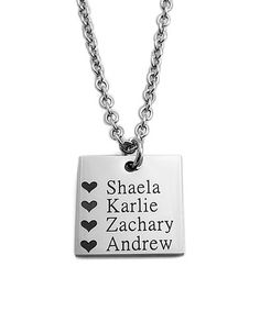 Another great find on #zulily! Stainless Steel Personalized Square Pendant Necklace #zulilyfinds