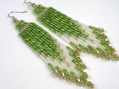 Items similar to Long Sexy Lime Green Earrings - Brick Stitch, Cheyenne Stitch, Bugle Bead on Etsy Seed Bead Jewelry, Seed Bead Earrings, Beaded Earrings, Beaded Jewelry, Green Earrings, Fringe Earrings, Seed Bead Patterns, Beading Patterns, Beadwork Designs