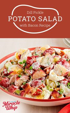 Become the hero of your next picnic with our Dill Pickle Potato Salad with Bacon. Dill Pickle Potato Salad with Bacon is a fresh take on a timeless treat. Bacon Recipes, Potato Recipes, Salad Recipes, Cooking Recipes, Healthy Salads, Healthy Eating, Healthy Recipes, Clean Eating, Potato Dishes
