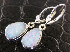 Opal Sterling Silver Earrings #opalsaustralia