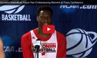 "Wisconsin Basketball Player Has Embarrassing Moment at Press Conference Sophomore basketball player Nigel Hayes, for the 'Wisconsin Badgers' whispered ""God, she's beautiful"" to teammate Frank Kaminsky in regards to a NCAA Tournament stenographer at a recent press conference but didn't realize everyone else could hear him..."