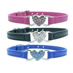 I Heart Pet Collar - Rhinestone PU Leather collars with rhinestone hearts.