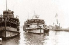Barges [i., ferry boats] at Ellis Island, 1920 June. Old Pictures, Old Photos, Vintage Photos, Ellis Island Immigrants, American History, Castle, United States, World, Canoes