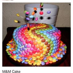 Easy to make cake at home just cover with m&ms