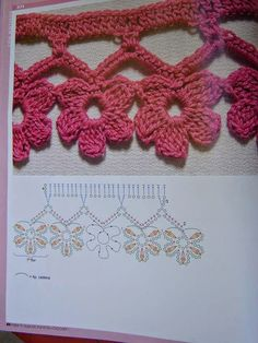 Esma's media content and analytics Crochet Edging Patterns, Crochet Lace Edging, Crochet Borders, Crochet Diagram, Cotton Crochet, Crochet Trim, Crochet Designs, Crochet Flower Scarf, Crochet Flowers