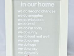 **New Large Size**Framed 'In our home' Quote Wall Art