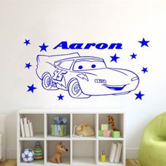 NEW Cars Wall Stickers For Kids Room Removable Vinyl Wall Sticker Home Decor Custom Names Wall Art 45x75cm