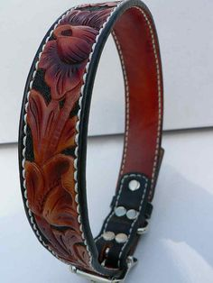 Tooled Leather Dog Collar with Wine colored flowers