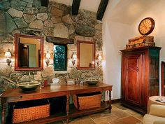 Bathroom in European Classic Furniture- Wow! There's your old stone wall, J ;)
