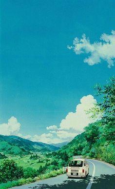 ✮ ANIME ART ✮ anime scenery. . .mountains. . .hilltop. . .road. . .car. . .trees. . .nature. . .sky. . .clouds. . .amazing detail. . .kawaii