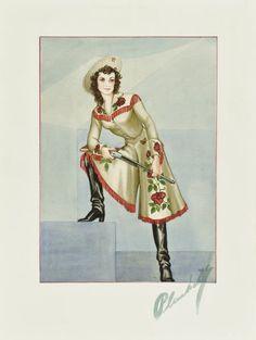 Walter Plunkett watercolor costume sketch of Barbara Stanwyck's costume in Annie Oakley (RKO, 1935)