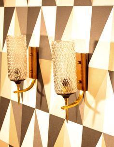 Pair of italian mid century metal wood and glass wall by Ludumart