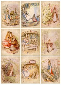 """""""Once upon a time there were four little Rabbits, and their names were–Flopsy, Mopsy, Cottontail, and Peter. """" ~The Tale of Peter Rabbit written and illustrated by Beatrix Potter. Beatrix Potter Illustrations, Lapin Art, Alfabeto Animal, Beatrice Potter, Peter Rabbit And Friends, Photo Images, Bunny Art, Hang Tags, Belle Photo"""