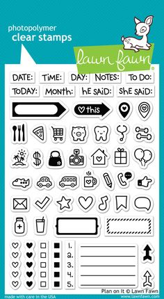 """Thiscute assortment of icons are perfect forplanner stamping! Approximate stamp sizes:[arrow label] 1 3/8""""W x 3/8""""H[verticalhearts] 3/16""""W x 1 1/8""""H[piggy b"""
