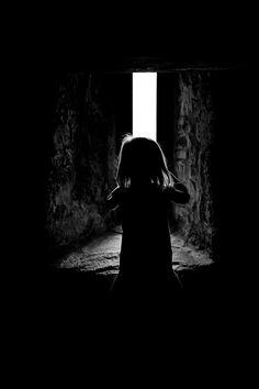 girl exploring castle.