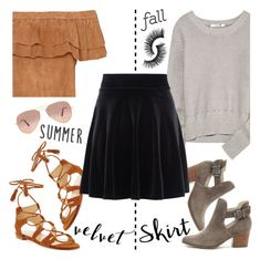 Summer to Fall: Velvet Skirt by pianogirlzoe on Polyvore featuring polyvore мода style T By Alexander Wang New Look Sole Society Stuart Weitzman Ray-Ban fashion clothing velvet summertofall