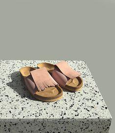 PART / Korkáče Pink velur Birkenstock, Modeling, Blues, Wedges, Backpacks, Sandals, Pink, Fashion, Slide Sandals