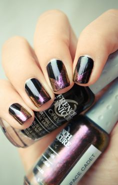 Cosmic inspired nails with dark and metallics #Manicure #NailArt