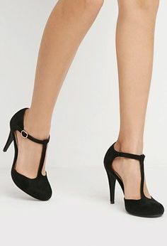 Faux Suede T-Strap Pumps Forever 21 - 2000172999 ~ gorgeous and remind me of the barbie shoes I always thought were kind of naughty They look very bombshell Cute Shoes, Me Too Shoes, Women's Shoes, Shoe Boots, Platform Shoes, Shoes Sneakers, Dance Shoes, Golf Shoes, Converse Shoes
