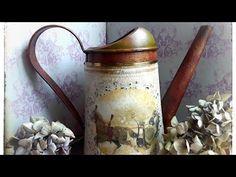 #vintage #wateringcan #tutorial #декупаж - YouTube Decoupage Art, Sculpture, Watering Can, Diy Tutorial, Creations, Make It Yourself, Vintage, Artwork, Crafts
