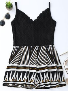 GET $50 NOW | Join Zaful: Get YOUR $50 NOW!http://m.zaful.com/geometric-panel-lace-trim-romper-p_280260.html?seid=k1idv1ceia0p7g87iutgan9364zf280260
