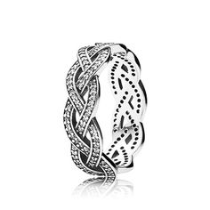A new take on the classic eternity style, the refined design has a light and elegant expression from the three braided rows of sparkling stones. $150 #PANDORA #PANDORAring #PANDORAaw14