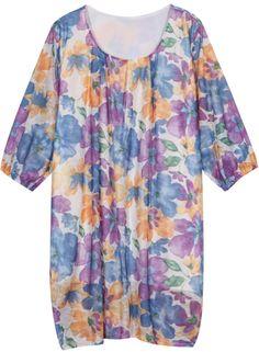 Purple Long Sleeve Floral Loose Dress 14.17