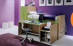 Hochbett mit Leiter-Schreibtisch Bürostuhl und Schrank-Mariani Plus