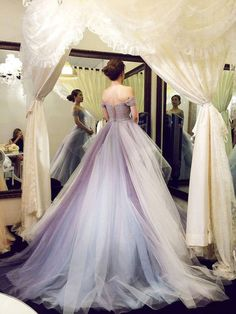 Beautiful A-Line Off-Shoulder Ball Gown Tulle Long Prom Dress