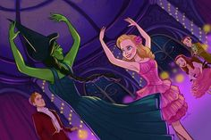 • drawing Illustration fan art wicked elphaba wicked the musical galinda fiyero boq nessarose Dancing Through Life