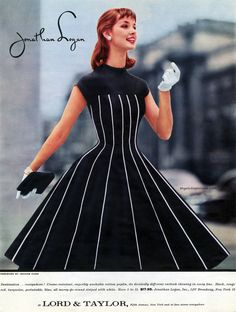 myvintagevogue black dress full skirt white stripe color photo print ad vintage fashion style model magazine designer Jonathan Logan 50s