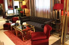 Review Hotel Trianon Rive Gauche Paris JustKVN menswear and lifestyle blog Red Velvet Chair, Rive Gauche, Dark Brown Color, Paris Hotels, Common Area, Lifestyle Blog, Couch, Luxury, Room
