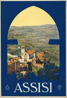 Assisi Travel Poster. A view of Assisi, Italy, looking out the window of a tower. Vittorio Grassi, c. 1920. Vintage travel poster. #vintagetravelposters