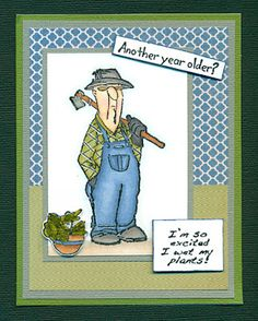 Art Impression Rubber Stamps:SC0650 Ai His and Hers Gardeners at Michaels' Craft Store!!! Handmade card