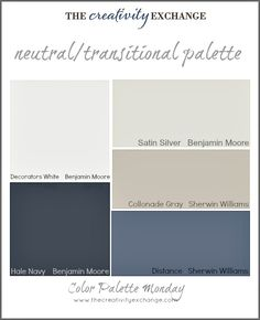 Readers' Favorite Paint Colors {Color Palette Monday} I hope you guys had a fantastic weekend and a great of July! This week for Color Palette Monday, I've pulled a palette together of readers' favorite paint colors from feedback over the last 12 Paint Color Palettes, Paint Color Schemes, Neutral Color Palettes, Exterior Paint Schemes, House Color Schemes, Neutral Paint, Neutral Colors, Exterior Gris, Sherwin Williams Color Palette