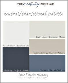 Color palette of neutral-transitional paint colors {Color Palette Monday} The Creativity Exchange