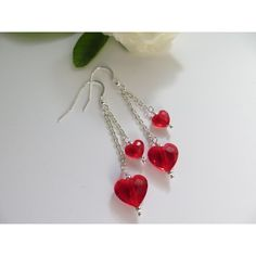 Swarovski Crystal earrings, Swarovski earrings, Light Siam Red Love... (30 CAD) ❤ liked on Polyvore featuring jewelry and earrings