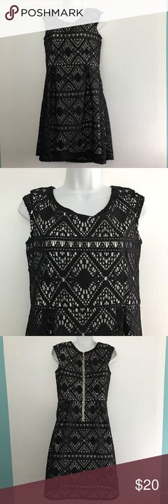 Girls Black Crochet Off White  Lined Dress Beautiful big girls black Crochet dress lined in off white poly. Very stylish either posed back zipper. Your little lady will love this girly twist on very grown up style. Chest approx  34 in. Full length 36 in. Top length approx 15 in. Skirt length 21 in waist approx 30 in. In great preowned condition. Xhilaration Dresses Casual