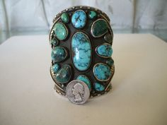 Huge Vintage MUSEUM Quality Turquoise & Sterling Cuff Bracelet, by LARRY MARTINEZ of Taos, New Mexico, TurquoiseKachina, $1629.00